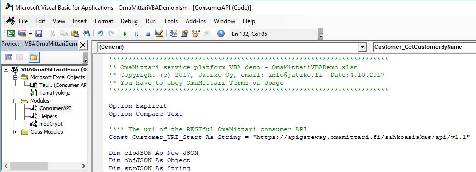 OmaMittari> Developer portal